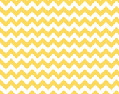 Yellow Chevron Fabric by Riley Blake Designs Small Chevron Zig Zags - Fabric by the yard