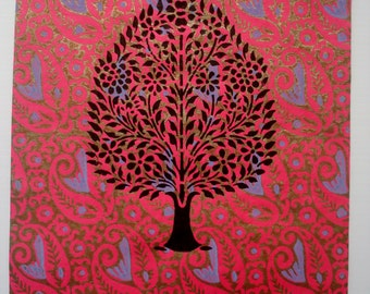 Blossoming Tree, Woodblock, 38cm H x 28cm W