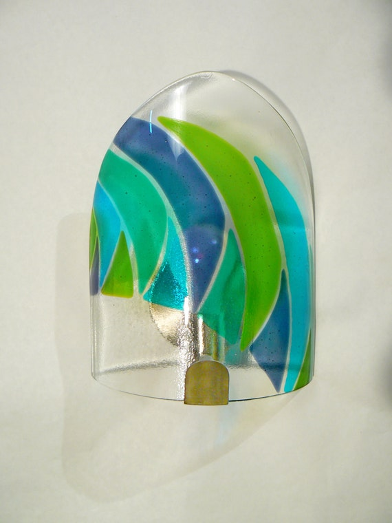 Items similar to Blue green eclipse glass wall sconce lighting - matching bathroom sink ...