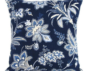Navy Blue Floral Pillow Cover Indigo Botanical DecorativeThrow Flowers 16x16 18x18 20x20 22x22 12x14 12x16 12x18 12x20 14x22 Lumbar Zipper