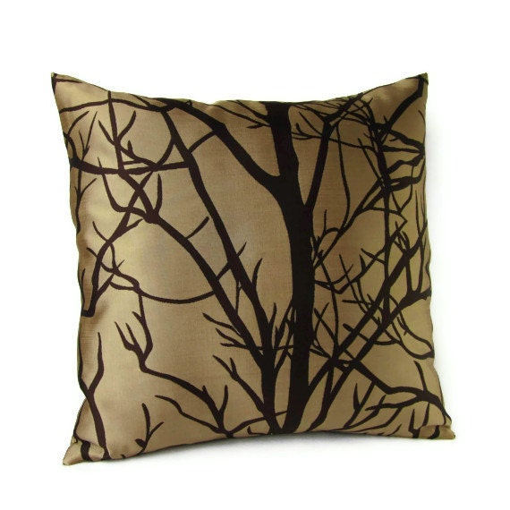 Throw Pillow Covers Brown : Throw Pillow Cover Brown Tan Tree Branches Home Decor