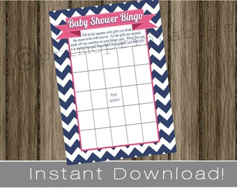 Baby Shower Bingo Game Cards navy blue chevron and preppy pink INSTANT DOWNLOAD diy digital printable file print your own , babyshower