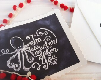 Printable I'm a Sucker for You DIY Chalk Art Valentines Day Card