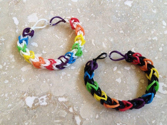 items similar to rainbow rubber band bracelet six color