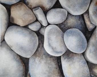 Original realistic watercolor painting of sea stones - decorative art - original art