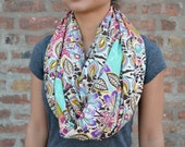 Bold Print Infinity Scarf - Spring Scarf - Flower Print in Purple, Pink and Aqua