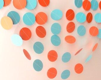 Aqua Blue & Orange Circle Paper Garland 10ft - Wedding Garland, Baby Shower, Bridal Shower, Birthday, Party Decorations, Boys Birthday