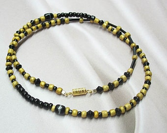 Black, Yellow-Gold, choker style, necklace