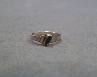 Vintage sterling silver marquise malachite band ring size 6     W