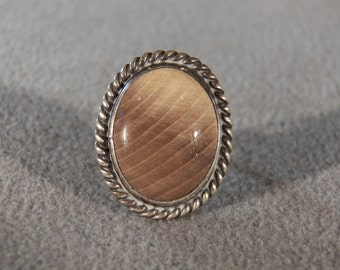 Vintage Sterling Silver  Large Domed Striated Gray Agate Fancy Braided Wide Band Band Ring, Size 6.5