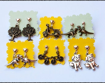 Charming earrings, choose your favourite - tree / dinosaur / bicycle / dog / vespa stud earrings - compose your earrings