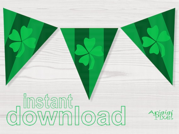 St Patrick's Day Banner - green - lucky clover - shamrock - download