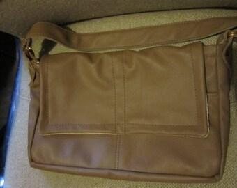 Hand Made Dark Tan Genuine Leather Shoulder Bag/Arm Bag, with outside zipper pocket (61)
