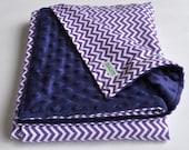 Soft and cuddly baby blanket--Violet chevron