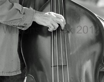 Upright Bass Fiddle Black and White