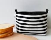 Fabric basket black&white striped
