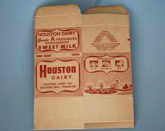 1940's/1950's Sweet Milk Carton - from Houston Dairy