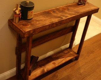 Beautiful RUSTIC American Walnut Stained SOFA Hall Entry Accent Primitive Wood Table W/Bottom Shelf Custom Sizes Colors Unique Primtiques