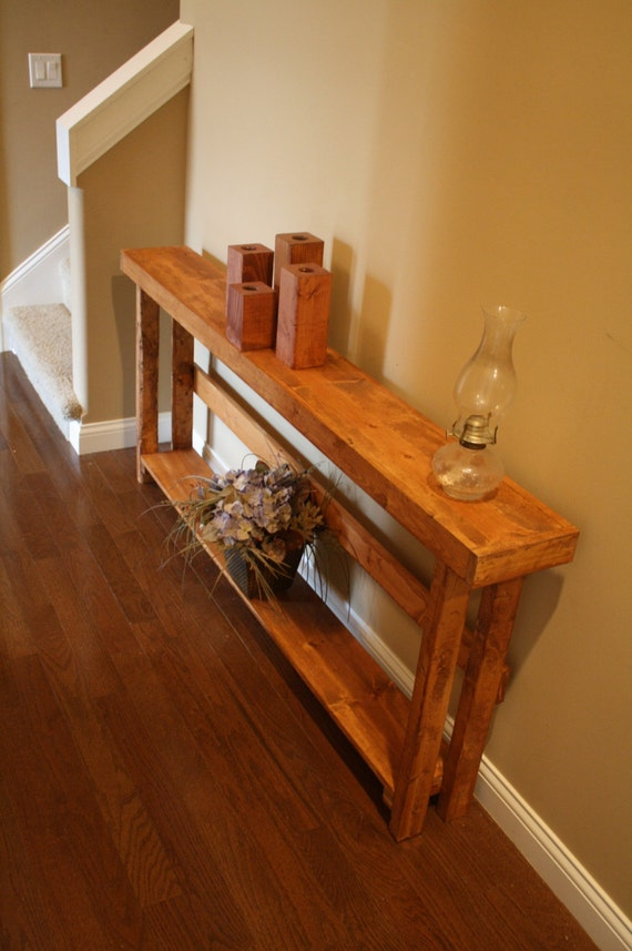 Rustic beautiful american walnut stain 8 3 4x70x33h long sofa for 70 inch console table