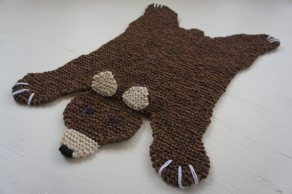 Polar Bear Rug Knitting Pattern : Flat brown bear rug mat blanket