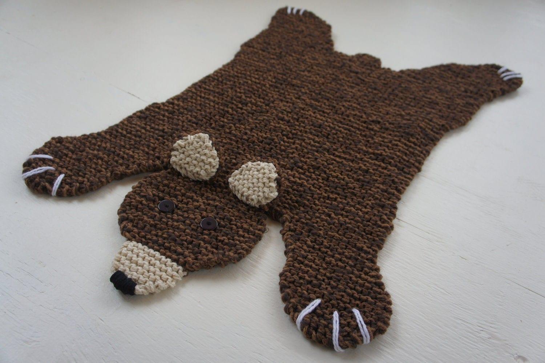 Bear Rug Knitting Pattern : Flat brown bear rug mat blanket