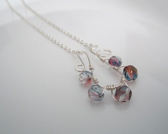Wire wrapped aurora borealis beads with sterling silver pendant necklace