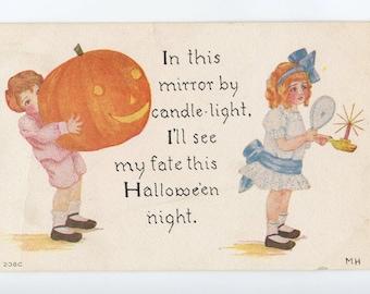 "halloween postcard, children, vintage postcard ephemera, ""pretty awful"" team, pacific postcards team"
