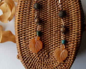 Carnelian Leaf Earrings w/ 14k Gold Filled Wire