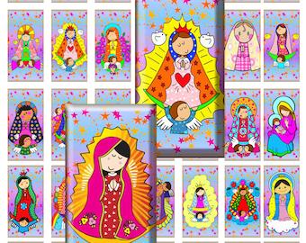 """Beautiful virgencitas  digital collage sheet, 35 tile, domino images 1X2""""  Vol.3, buy 2 collage sheet Get 1 FREE"""