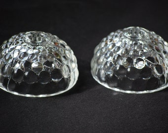 Vintage Clear Glass Bubble Dome Candle Holders. Pair.
