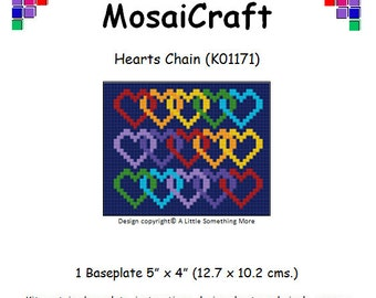 MosaiCraft Pixel Craft Mosaic Art Kit 'Hearts Chain' Valentine (Like Mini Mosaic and Paint by Numbers)