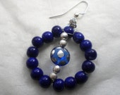 Dark Blue Earrings / Silver Beaded Earrings / Dangle Hoop Earrings