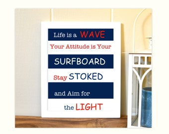 Nautical boy room art, teen room decor, surf art, inspirational quotes, boys art, typography