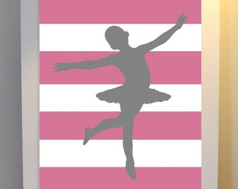 Nursery art, baby girl nursery, teen room art, girls room art, ballerina nursery art, white and pink stripes, ballerina, nursery print