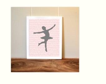 Nursery art, baby girl nursery, musical notes, girls room art, ballet art, little girl gift, ballerina, nursery print