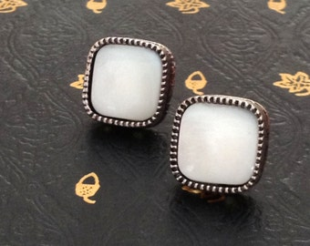 White Square Stud Earrings