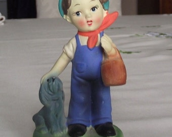 Vintage Enesco bisque porcelain boy with dog JAPAN