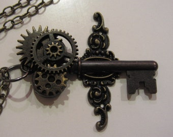 Flights of Fantasy Steampunk Skeleton Key Necklace