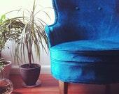 Vintage bedroom arm chair. Blue velvet upholstery. RESERVED.