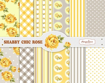 12 Shabby Chic Rose Yellow Gray Digital Scrapbook Paper pack for invites, card making, digital scrapbooking