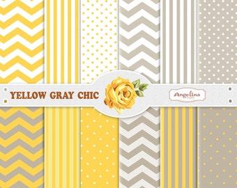 12 Digital Yellow Gray Chevron Scrapbook Paper Pack for invites, card making, digital scrapbooking, wallpapers