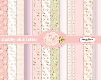 12 Shabby Chic Rose Light Pink Digital Scrapbook Papers 8x11 inch for invites, letters, card making.