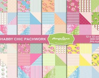8 Shabby Chic Patchwork Digital Scrapbook Paper pack.
