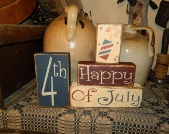 Happy 4th of July Fireworks Primitive block Sign