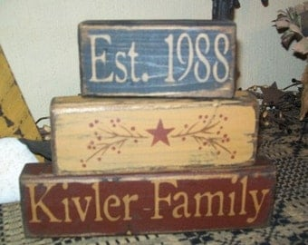 CUSTOM FAMILY Berry Vine Star  primitive block sign