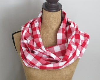 Red Gingham Infinity Scarf