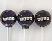 "6 Geek Nerd Dork Lollipops TM 1.5"" round Get your Geek On"