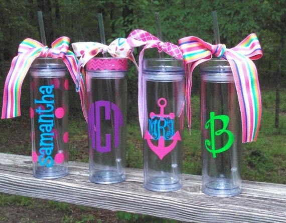 Personalized Monogrammed Tall And Skinny Acrylic Tumbler
