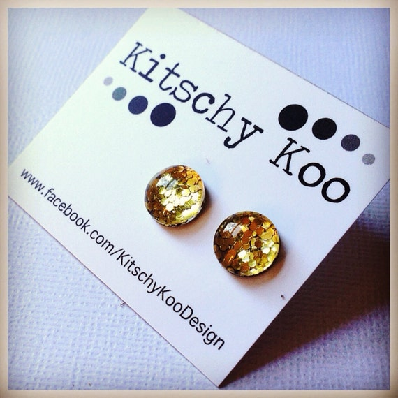 FREE SHIPPING - Glitter Earrings - Glass Stud - Surgical Steel - Gold Glitter - Handmade - Sparkle Gold Green Silver Red Blue