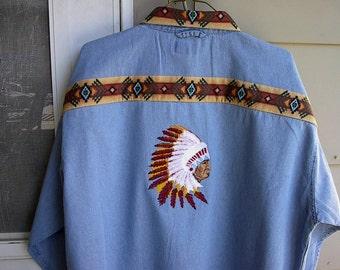 Native American chief denim shirt